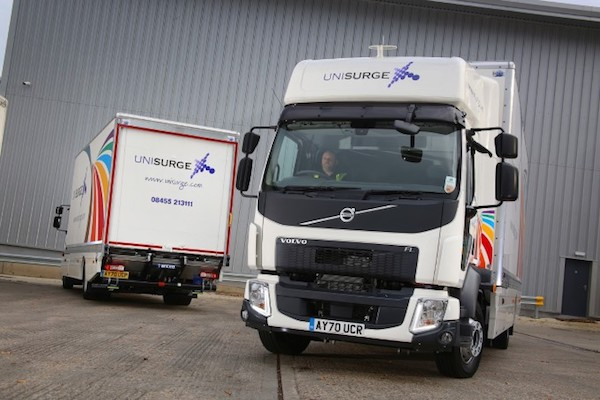 NEW VOLVO FL TRUCKS HELP UNISURGE KEEP THE NHS WELL STOCKED