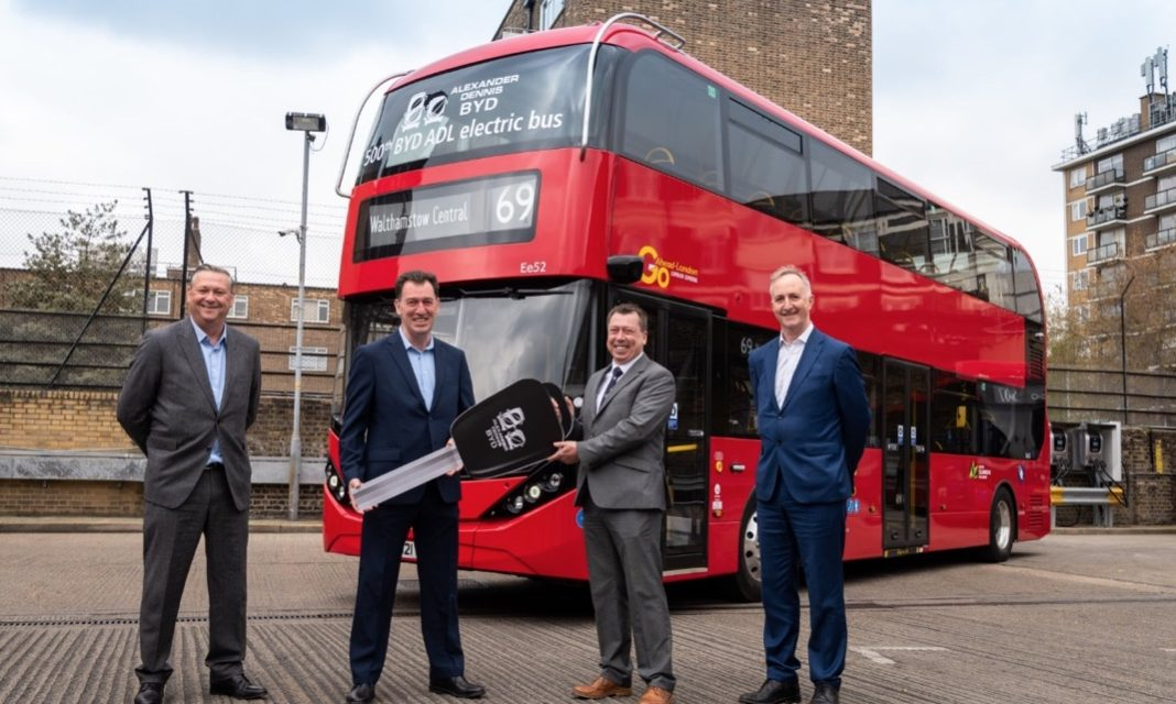 500th BYD ADL electric bus delivered to Go-Ahead London as orders top 1000 across the UK
